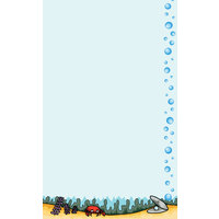 8 1/2 inch x 14 inch Menu Paper - Seafood Themed Bubbles Design Right Insert - 100/Pack