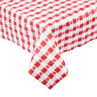 Hoffmaster 220670 54 inch x 108 inch Cellutex Red Gingham Tissue / Poly Paper Table Cover - 25/Case