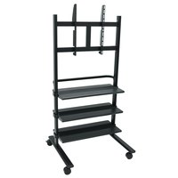 Luxor / H. Wilson WFP100-B Flat Panel TV Cart with 3 Shelves for 32 inch to 60 inch Screens