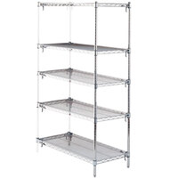 Metro 5AA457C Stationary Super Erecta Adjustable 2 Series Chrome Wire Shelving Add On Unit - 21 inch x 48 inch x 74 inch
