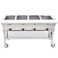 APW Wyott PST-4 Four Pan Exposed Portable Steam Table with Coated Legs and Undershelf - 2000W - Open Well, 120V
