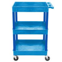 Luxor BUSTC111BU Blue 3 Tub Utility Cart - 18 inch x 24 inch x 38 1/2 inch