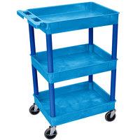 Luxor / H. Wilson STC111 Blue 3 Tub Utility Cart - 18 inch x 24 inch x 38 1/2 inch