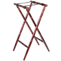 "Lancaster Table &amp&#x3b; Seating Red Brown 32"" Folding Turned Leg Tray Stand Chic Wood"