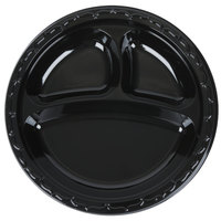 Genpak BLK39 Silhouette 9 inch 3 Compartment Black Premium Plastic Plate   - 400/Case