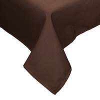 64 inch x 120 inch Brown Hemmed Polyspun Cloth Table Cover