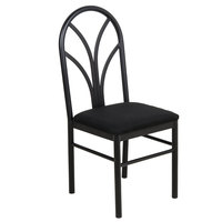 "Lancaster Table &amp&#x3b; Seating Black 4 Spoke Restaurant Dining Room Chair with 1 3/4"" Padded Seat"