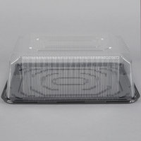 D&W Fine Pack G85 1/4 Size 2-3 Layer Sheet Cake Display Container with Clear Dome Lid - 10/Pack