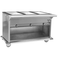 Eagle Group PHT3OB Portable Electric Hot Food Table with Enclosed Base - Three Pan - Open Well, 120V