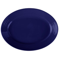 Tuxton CCH-1352 Concentrix 13 1/2 inch x 9 3/4 inch Cobalt Oval China Coupe Platter - 6/Case