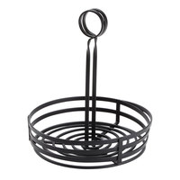 American Metalcraft FWC89 Flat Coil Round Wrought Iron Condiment Caddy - 8 inch x 9 1/2 inch