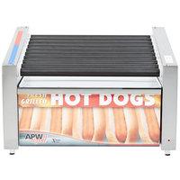 APW Wyott HRS-31BW 24 inch Hot Dog Roller Grill with Slanted Tru-Turn Rollers and Bun Warmer - 120V