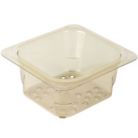 Cambro 63CLRHP150 H-Pan™ 1/6 Size Amber High Heat Plastic Colander Pan - 3 inch Deep