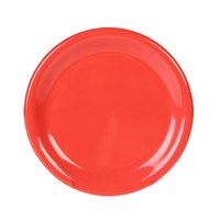 Thunder Group CR006RD 6 1/2 inch Orange Wide Rim Melamine Plate - 12/Pack