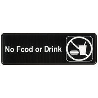 No Food Or Drink Sign - Black and White, 9 inch x 3 inch