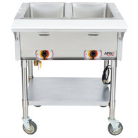 APW Wyott PST-2S Two Pan Exposed Portable Steam Table with Stainless Steel Legs and Undershelf - 1000W - Open Well, 120V