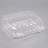 Durable Packaging PXT-880 Duralock 8 inch x 8 inch x 3 inch Clear Hinged Lid Plastic Container - 250/Case