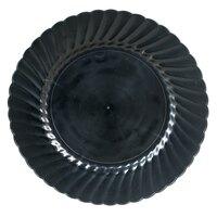 WNA Comet Classicware EcoSense 9 inch Biodegradable Black Plastic Plate - 18 / Pack