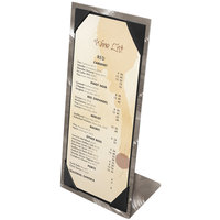Menu Solutions MTPIX-411 Alumitique Aluminum Menu Tent with Picture Corners - Swirl Finish 4 1/4 inch x 11 inch