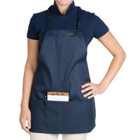 Chef Revival Navy Blue Poly-Cotton Customizable Bib Apron with 1 Pocket - 28 inchL x 25 inchW