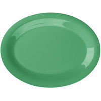 GET OP-120-FG Diamond Mardi Gras 12 inch x 9 inch Rainforest Green Oval Melamine Platter - 12/Case