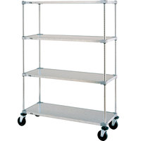Metro Super Erecta F556EG Galvanized Mobile Solid Shelving Unit with Polyurethane Casters 24 inch x 48 inch x 68 inch