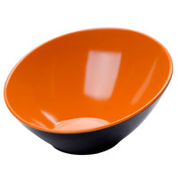 GET B-789-OR/BK Brasilia 1.1 Qt. Orange and Black Slanted Melamine Bowl - 6/Case