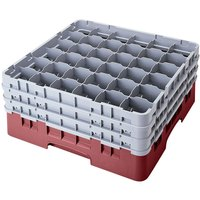 Cambro 36S638163 Red Camrack Customizable 36 Compartment 6 7/8 inch Glass Rack