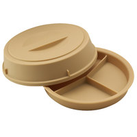 Cambro HK93CW133 Camwear Heat Keeper Beige 3-Compartment Insulated Meal Delivery Base and Cover - 6/Case