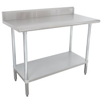 "Advance Tabco KSLAG-245-X 60"" x 24"" 16 Gauge Stainless Steel Work Table with Undershelf and Backsplash"