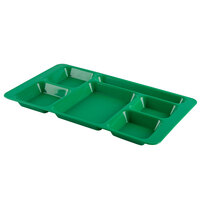 Cambro 1596CP437 (2 x 2) 9 inch x 15 inch Grass Green Six Compartment Serving Tray - 24/Case