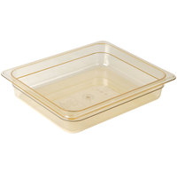 Cambro 22HP150 H-Pan™ 1/2 Size Amber High Heat Plastic Food Pan - 2 1/2 inch Deep