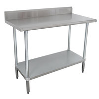"Advance Tabco KMSLAG-304-X 30"" x 48"" 16 Gauge Stainless Steel Work Table with Undershelf and Backsplash"