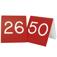 Cal-Mil 269B-1 Red Engraved Number Tent Sign Set 26-50 - 3 inch x 3 inch