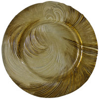 10 Strawberry Street CYC-340BEI-GOLD 13 1/4 inch Cyclone Beige/Gold Glass Charger Plate