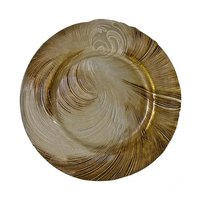 10 Strawberry Street CYC-340(BEI-GOLD) 13 1/4 inch Cyclone Beige/Gold Glass Charger Plate