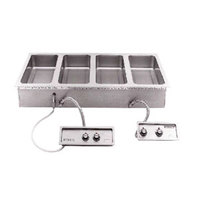 Wells MOD400TDMAF 4 Pan Drop-In Hot Food Well with Drain Manifolds and Autofill - Dual Thermostatic Control Panels