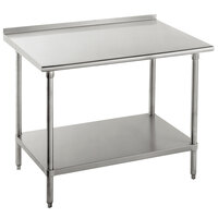 Advance Tabco FLAG-245-X 24 inch x 60 inch 16 Gauge Stainless Steel Work Table with 1 1/2 inch Backsplash and Galvanized Undershelf