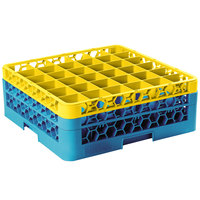 Carlisle RG36-2C411 OptiClean 36 Compartment Yellow Color-Coded Glass Rack with 2 Extenders