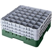 Cambro 36S418119 Sherwood Green Camrack Customizable 36 Compartment 4 1/2 inch Glass Rack