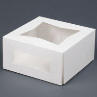 Southern Champion 24053 8 inch x 8 inch x 4 inch White Window Cake / Bakery Box - 150/Bundle
