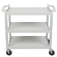 Cambro BC340KD480 Speckled Gray Three Shelf Utility Cart (Unassembled) - 40 inch x 21 1/4 inch x 37 1/2 inch