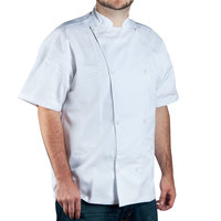 Chef Revival Silver J005-2X Knife and Steel Size 52 (2X) White Customizable Short Sleeve Chef Jacket - Poly-Cotton Blend