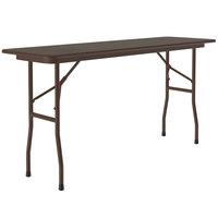 Correll Folding Table, 18 inch x 96 inch Melamine Top, Walnut - CF1896M