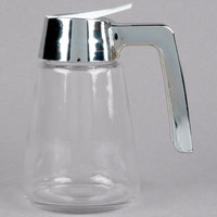 Tablecraft 1271 12 oz. Modern Glass Tapered Syrup Dispenser with Chrome Plated ABS Top