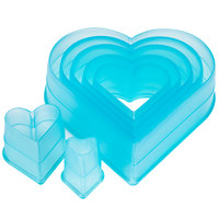 Ateco 5751 7-Piece Polycarbonate Plain Heart Cutter Set (August Thomsen)