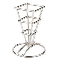 American Metalcraft SQFBSS Square Stainless Steel Fry Cone Holder - 2 1/2 inch x 3 5/8 inch x 5 1/4 inch
