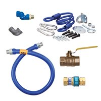 36 inch Dormont 1675BPQR Safety System Gas Connector Kit with SnapFast Quick Disconnect, Coiled Restraining Device and Hardware - 3/4 inch Diameter