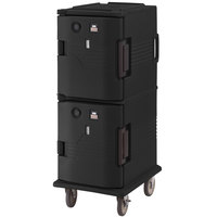 Cambro UPCH800110 Black Ultra Camcart Two Compartment Heated Holding Pan Carrier with , Both Compartments Heated - 110V