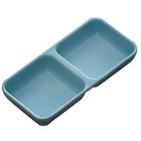 Thunder Group 1902 Blue Jade 4 oz. Rectangular Melamine Two Compartment Sauce Dish - 12/Case